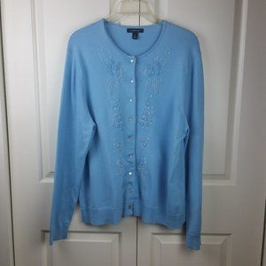 Lands' End Sky Blue LS Embellished Cardigan L EUC